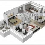Plano de departamento con buena distribución de ambientes