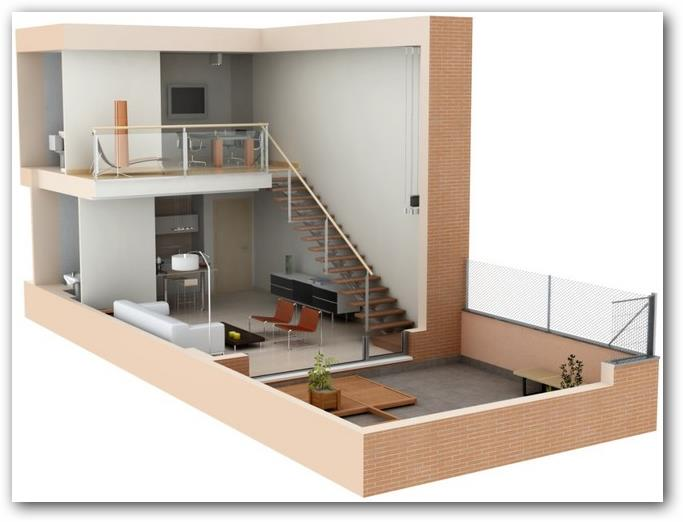 Plano de loft en 3d for Decorar piso tipo loft