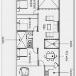 Plano para terreno de 10×20 y tres dormitorios