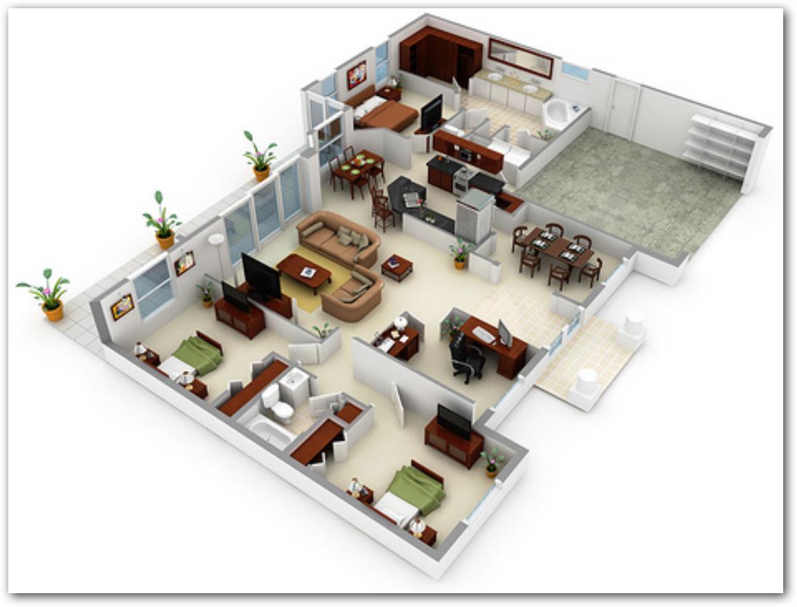 Casas moderna 65 metros planos de casas for Plano casa moderna 3 habitaciones