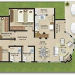 Plano de casa con doble garage y tres dormitorios