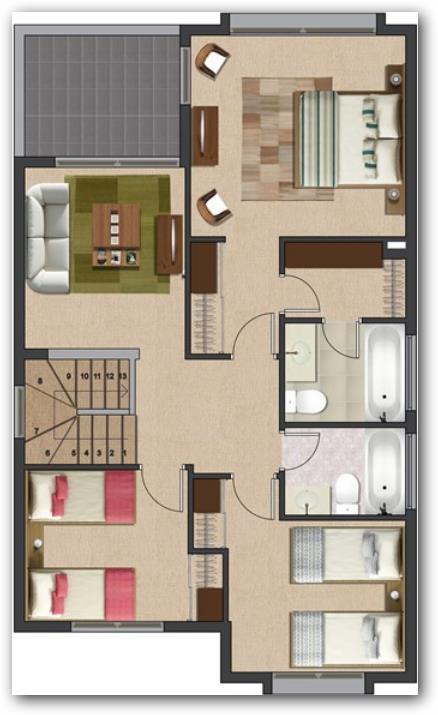 Plano de casa de 140 metros cuadrados