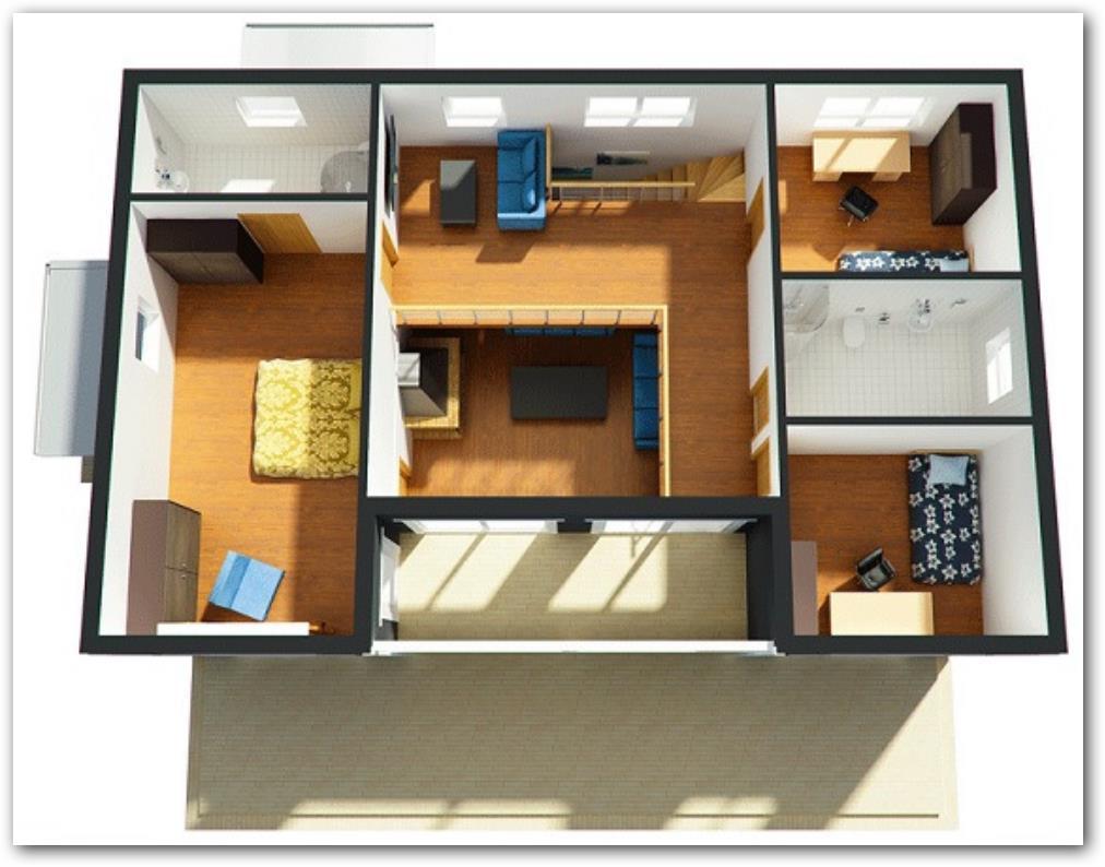Planos de casas pequenas modernas for Diseno de oficinas pequenas planos