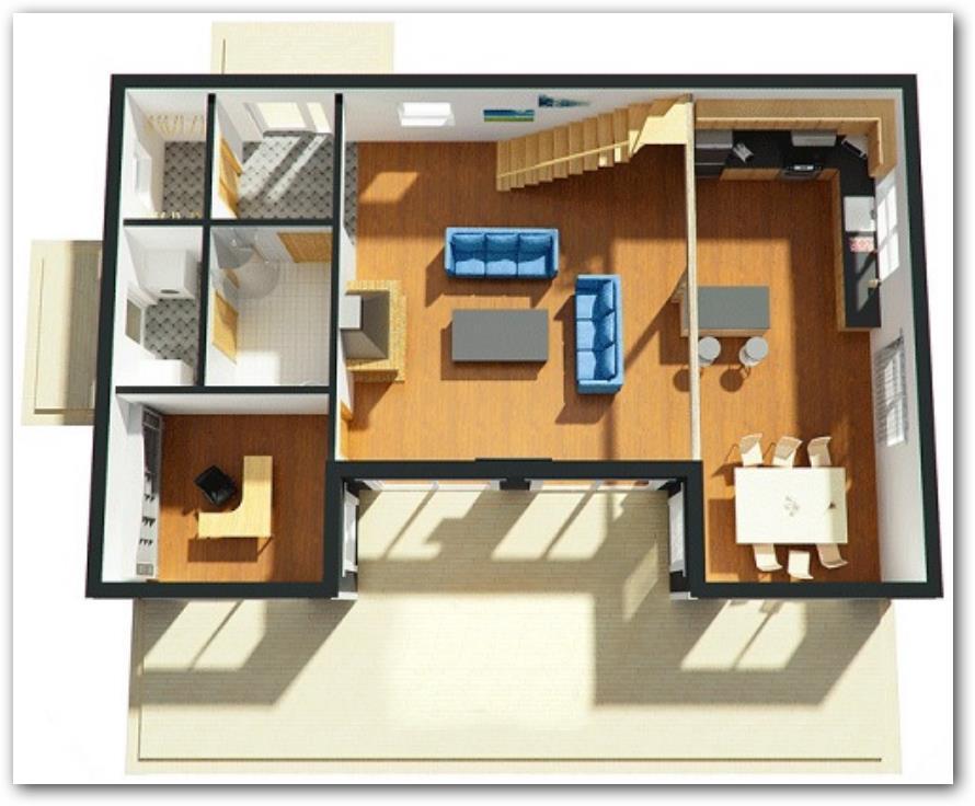 Plano de casa moderna en 3D