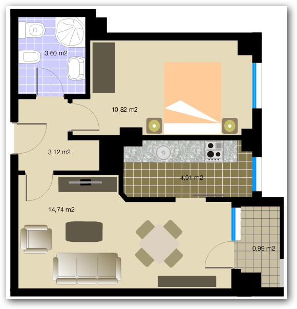 departamento de 38 metros y un dormitorio