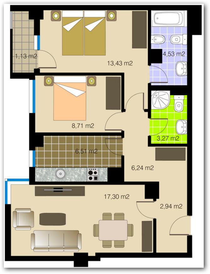 Departamento de 64 metros cuadrados y dos dormitorios for Planos de apartamentos modernos