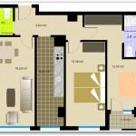 Plano de departamento de dos dormitorios