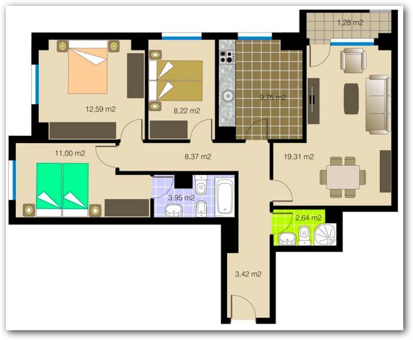 Plano de departamento o casa