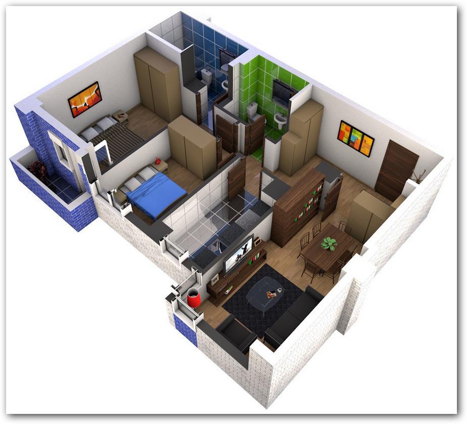 Divisiones de un departamento con dos dormitorios for Departamentos minimalistas planos