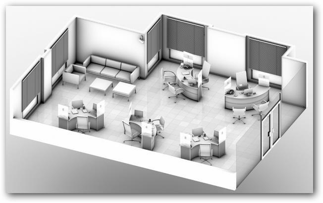 Plano de oficina en 3D