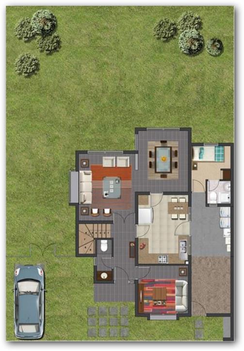 Plano de vivienda de 140 metros