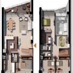 Plano de departamento duplex moderno