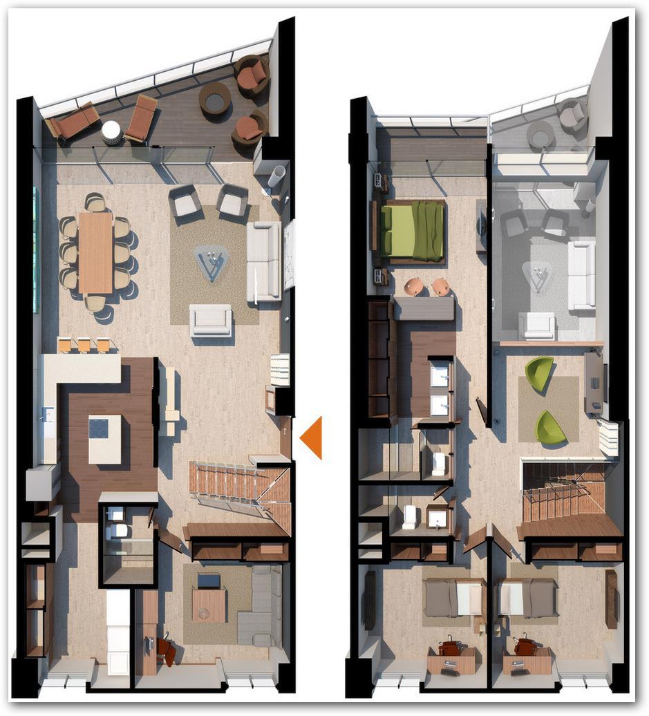 Plano de departamento duplex moderno for Pisos para departamentos pequenos