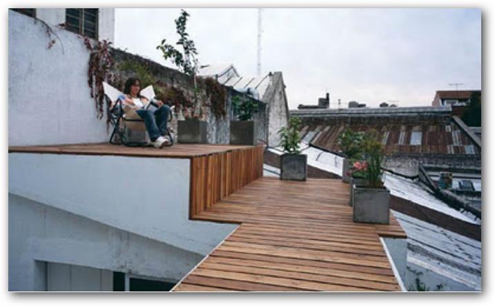 diseño de terraza de loft