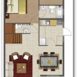 Plano de casa de 3 dormitorios en dos plantas