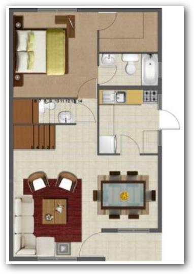 Casa de dos plantas de 50 metros ideas for Pisos de 30 metros cuadrados ikea