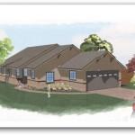 Plano para casa de una planta con entrada lateral
