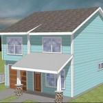 Plano de casa de campo de dos plantas y tres dormitorios