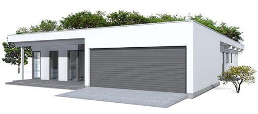 Fachada de casa de una planta y garaje doble
