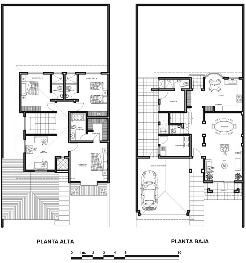 Plano de casa colonial moderna en dos plantas