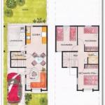 Plano de casa sencilla en dos pisos