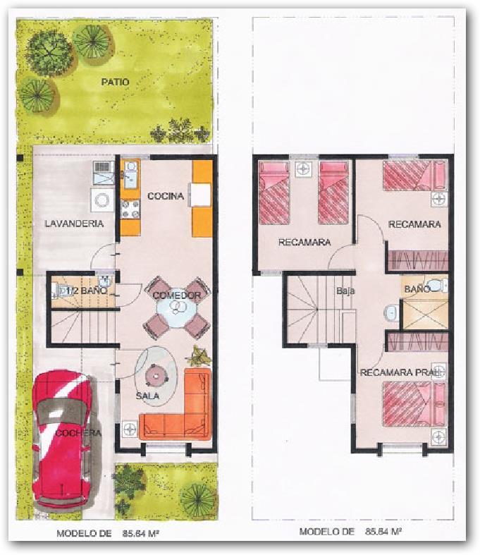 planos de casas de 2 pisos sencillas