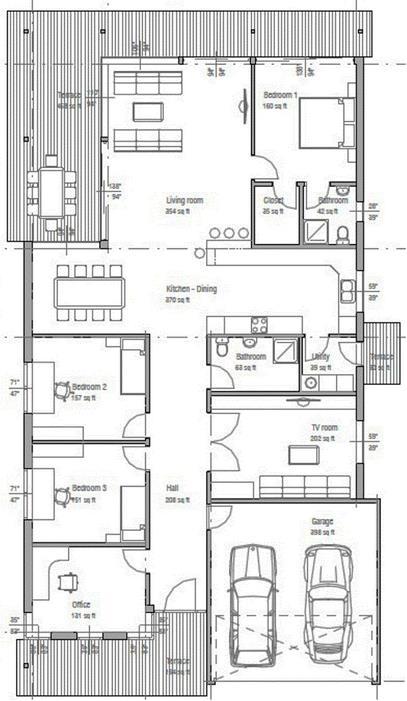 Casa de una planta y garaje doble for Distribucion oficinas pequenas