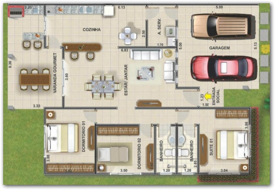Plano de casa con quincho for Planos de casas medianas