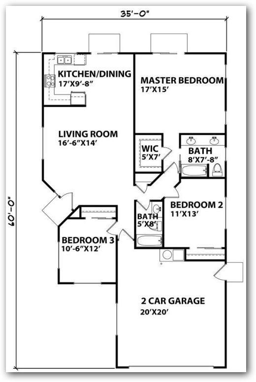 Plano de casa tradicional con ingreso lateral