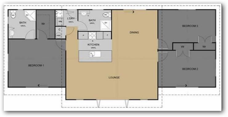 Plano de casas simple de 3 habitaciones