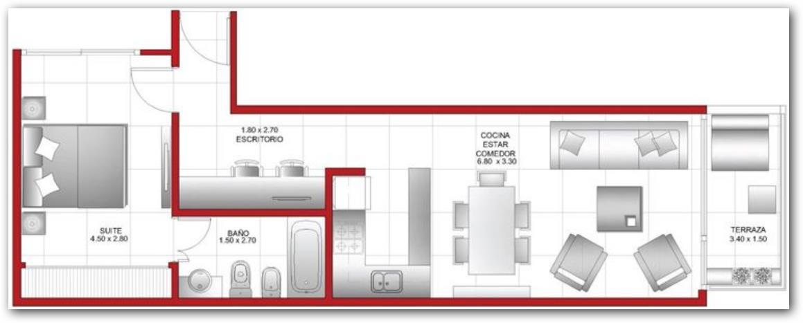 Plano de departamento amplio con un dormitorio