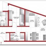 Plano para departamento con terraza de dos habitaciones