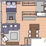 Plano de monoambiente de 48 metros cuadrados