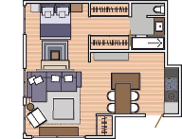 Plano de monoambiente de 48 m2