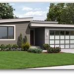 Plano de casa de dos dormitorios con garaje en 150 metros cuadrados