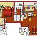 Colorido plano de casa de un solo dormitorio en perspectiva