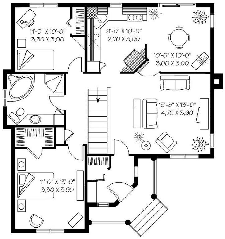 Plano de bungalow estilo americano