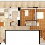 Plano de casa amplia con dos dormitorios y 121 metros cuadrados