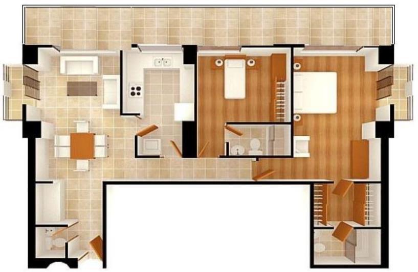 Ver planos de departamentos de dos pisos y dos dormitorios for Planos de casas de dos dormitorios