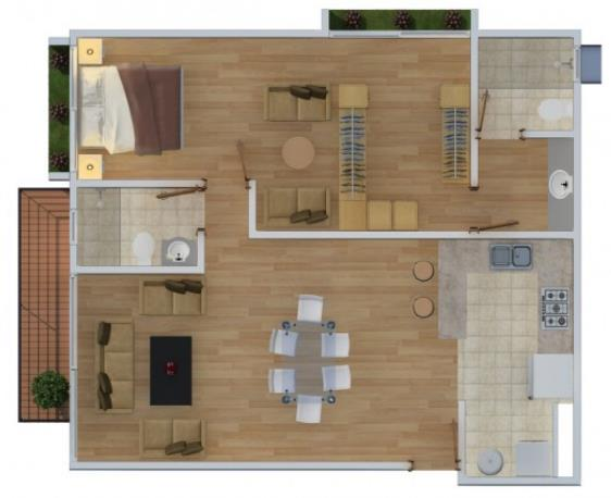 Plano de casa amplia con un sólo dormitorio