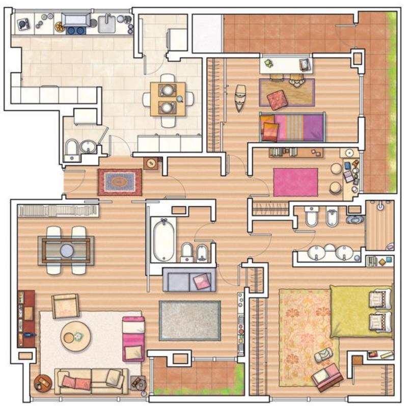 Plano de casa amplia de forma cuadrada - Como hacer un plano de una casa ...