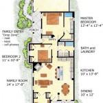 Plano de casa angosta y doble entrada