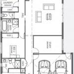 Plano de casa con garage doble y tres dormitorios