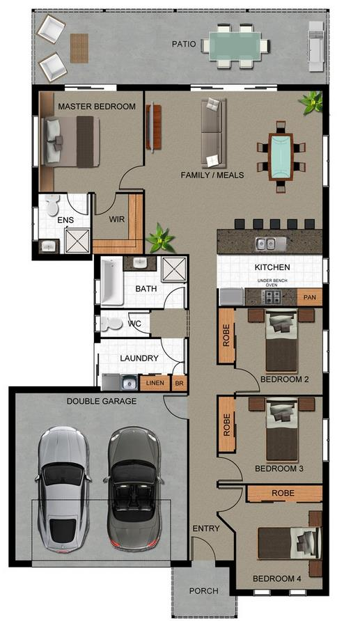 Plano de casa de cuatro habitaciones y garaje doble