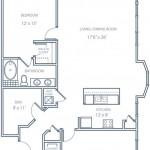 Plano de casa de dos dormitorios estilo condominio