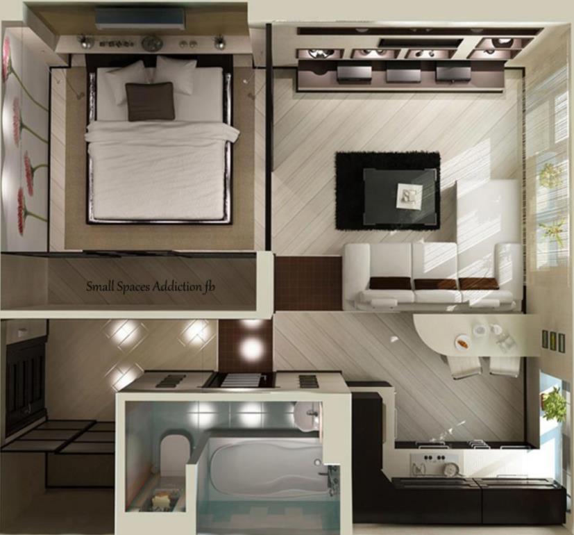 Plano de casa moderna en 3D y un sólo dormitorio