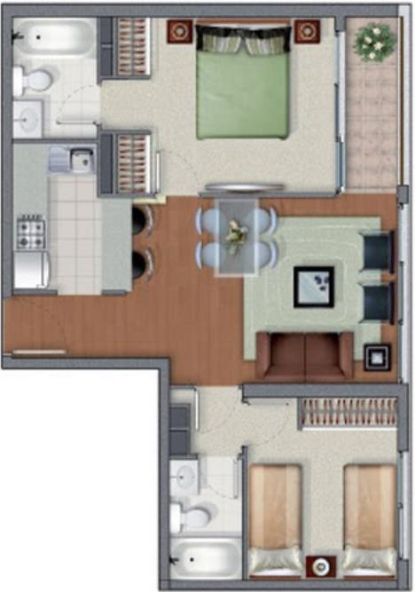 Plano de casa peque a con dos habitaciones y dos ba os for Plano de pieza cocina y bano
