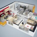 Plano de departamento de dos dormitorios y 70 metros