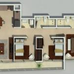 Plano de departamento de tres habitaciones con forma irregular.