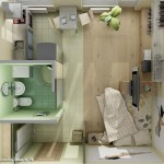 Plano de departamento monoambiente diseñado en 3D